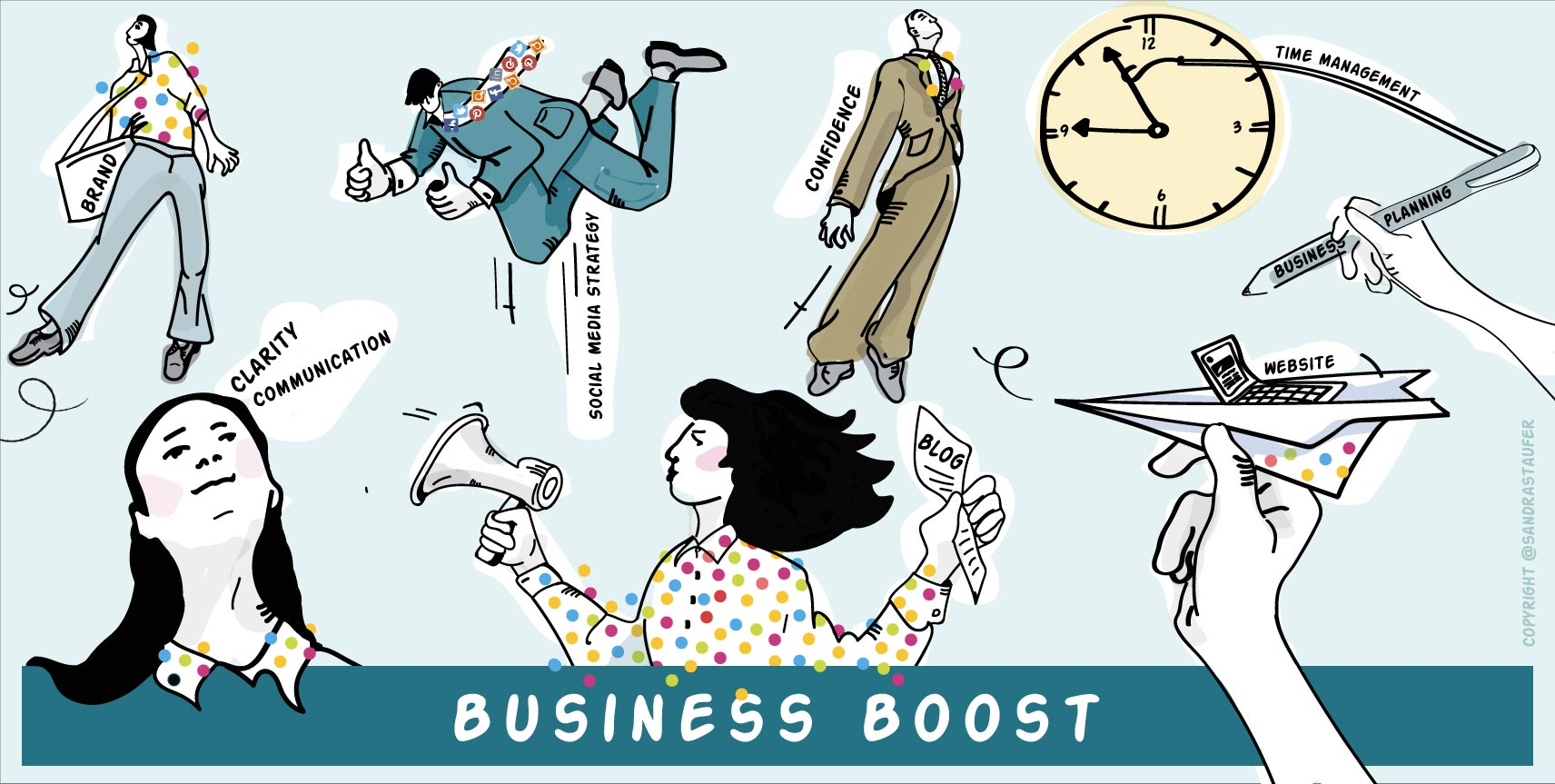 @SANDRA STAUFER ILLUSTARTION FOR HEADS-UP COACHING BOOST YOUR BUSINESS